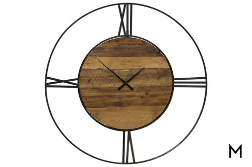 Metal and Wood Wall Clock