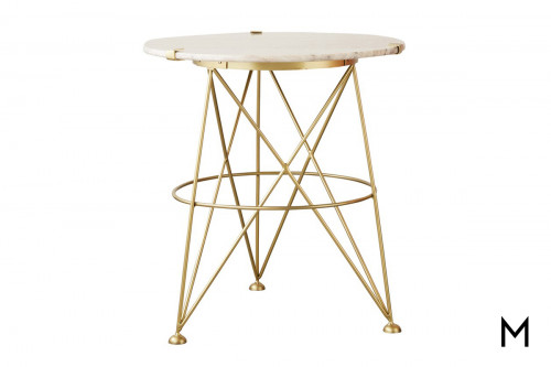 Metal and Marble Accent Table