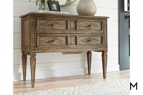 Carved Front Credenza with Two Drawers
