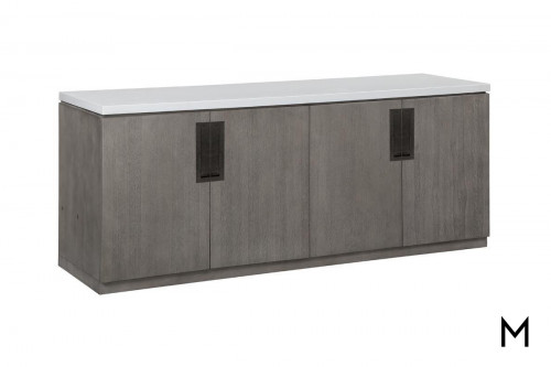 M Collection Modern Gray Credenza with Quartz Top
