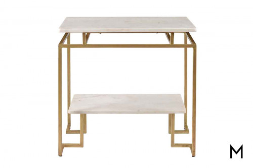 Gloria Two-Tiered Accent Table featuring Marble Top and Gold Finished Base