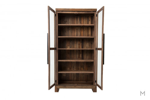 Camino Bookcase with Reclaimed Wood and Glass Doors