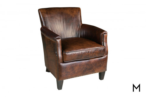 Leather Club Chair with Nailhead Trim