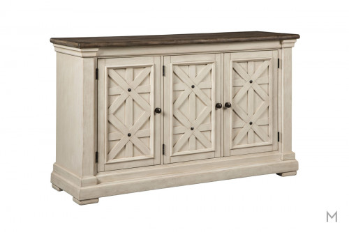 Bishop Server Credenza in Vintage White and Rustic Brown