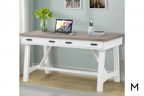 "M Collection Americana Modern 60"" Writing Desk in Cotton White Wood"