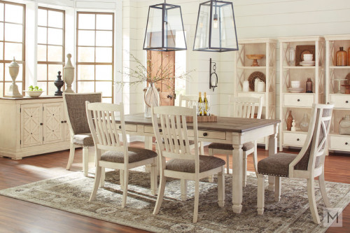 "Bolanburg 72"" Rectangular Dining Table in Vintage White and Rustic Brown"
