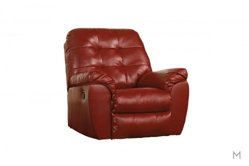 Alliston Rocker Recliner in Salsa Red DuraBlend Leather with Tufted Buttons