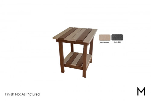 Outdoor End Table in Weatherwood and Black