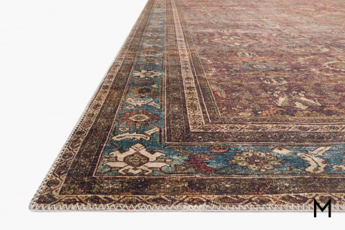 Layla Runner Rug 2'x7' in Brick and Blue