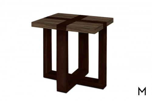 Skyline End Table in Steel and Aged Bridle