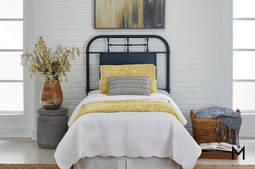 Vintage Metal Headboard - Twin in Navy