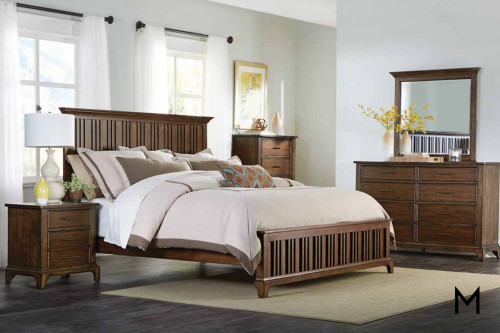 Mill Creek Queen Panel Bed in Rustic Cherry