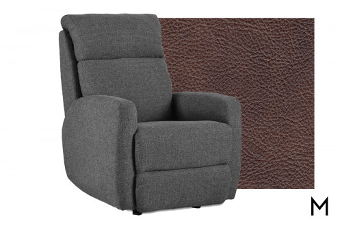 M Collection Primo Wall Hugger Leather Recliner in Eastwood Chaps