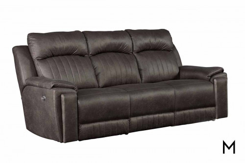 M Collection Silver Screen Double Reclining Sofa with Massage & Heat Therapy, Lumbar Support, Cupholders & Power Headrest