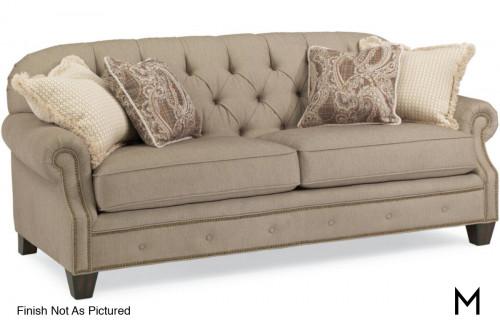 Two Cushion Fabric Sofa with Nailhead Trim