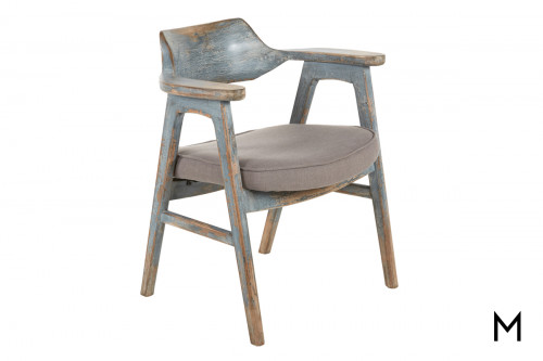 Vintage Rustic Dining Chair with Dark Gray Cushion