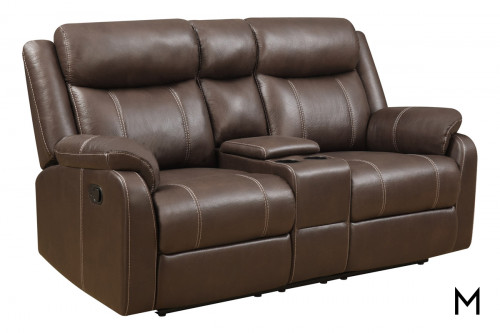 Casual Console Reclining Loveseat