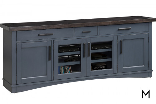M Collection Americana Modern 76 Inch TV Console with Power Center in Denim Finish