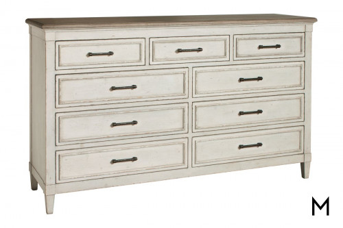 9 Drawer Wood Top Dresser