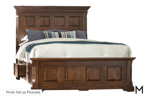 Panel King Bed with Side Rail Storage