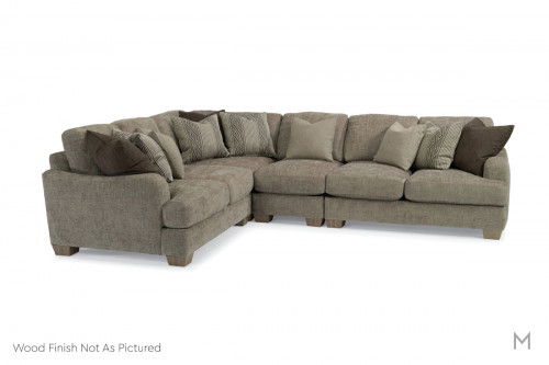 Vanessa Upholstered Sectional in Gray Upholstery with Dark Brown Wood Feet
