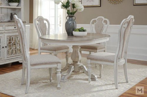 "Magnolia Manor 36"" Round Pedestal Dining Table in White with Antique Finish"