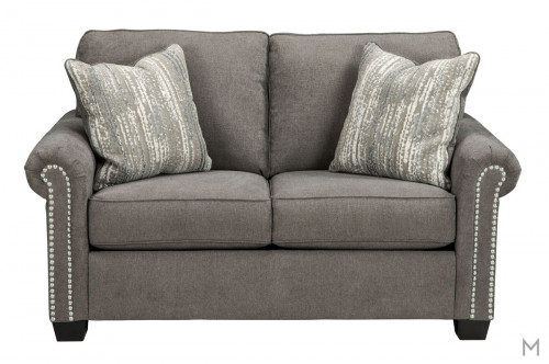 Gilman Loveseat with chrome-tone nailheads