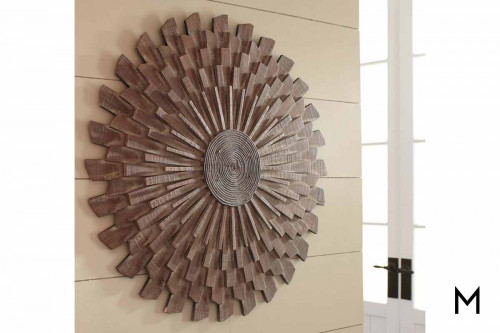 Drayrn Sunburst Wall Sculpture in Natural Wood