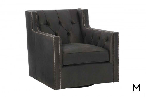 Candace Leather Swivel Accent Chair with Button Tufted Detailing