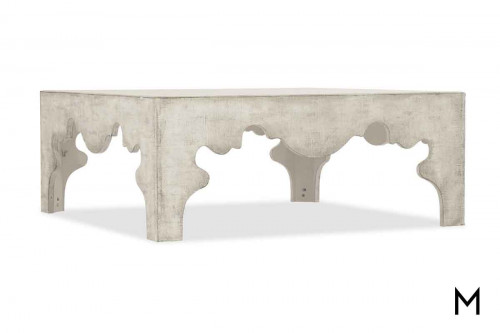 Boheme Flanders Square Coffee Table in White Finish over Distressed Linen