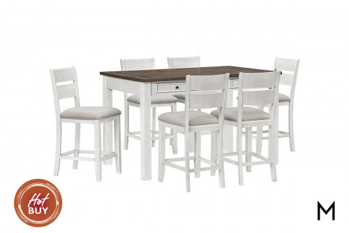 Kyle Light Counter Height Dining Set with Six Side Chairs