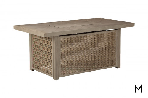 Rectangular Fire Table with Woven Panels