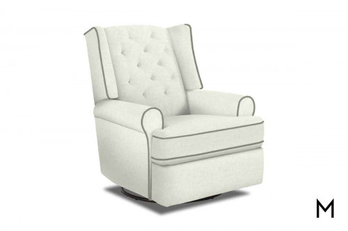 Kendra Wingback Swivel Recliner in Natural with Tufted Button Back