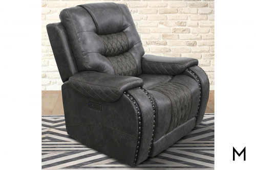 M Collection Desperado Stout Power Recliner with Quilted Seat & Back