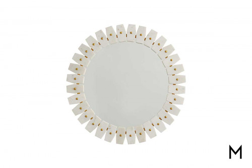 Marble Frame Wall Mirror with Brass Accents
