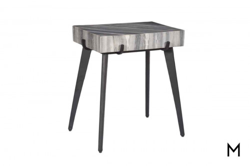 Marble Top End Table with Black Powder Coated Legs