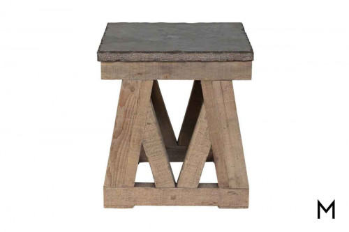 Marbella Square End Table featuring Stone Top and Reclaimed Wood Base