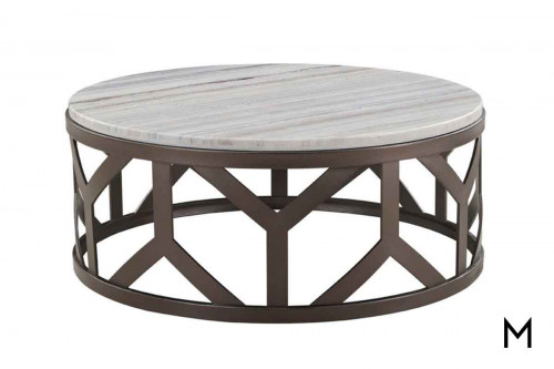 Geode Opal Round Coffee Table featuring a Metal Base and Travertine Top