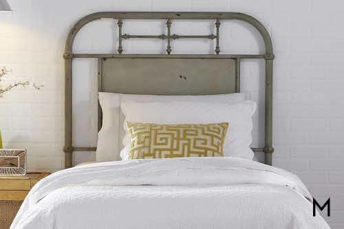 Vintage Metal Headboard - Twin in Green