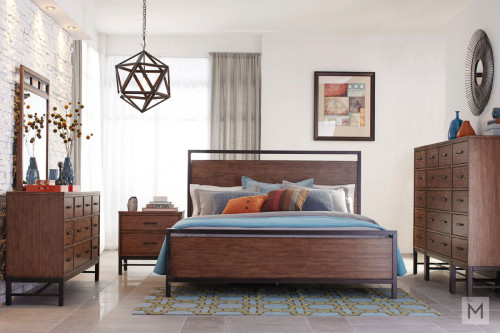 Affinity King Panel Bed in Mango with a Rustic Finish