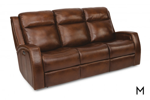 Mustang Power Reclining Sofa in Brown Leather
