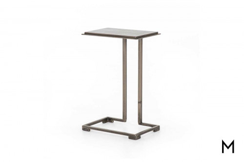 Acid Etch End Table in Antique Nickel