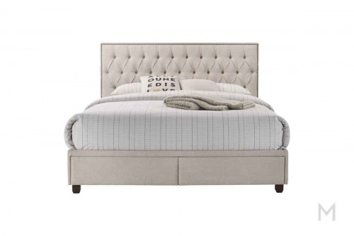 USB Queen Storage Bed in Cream