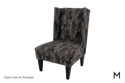 High Back Wing Accent Chair in Flannel Heather