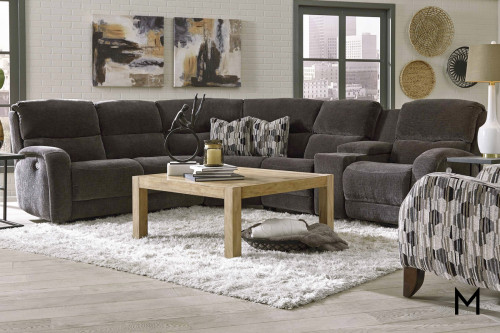 M Collection Fandango 6 Piece Sectional with Massage and Power Headrest