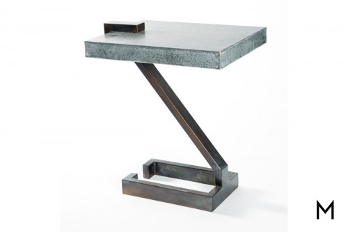 Hammered Zinc Top Accent Table