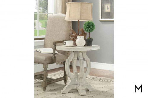Modern Farmhouse Round Accent Table in Orchard White