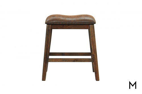 Chaleny Backless Counter Stool with Upholstered Seat and Nailhead Trim