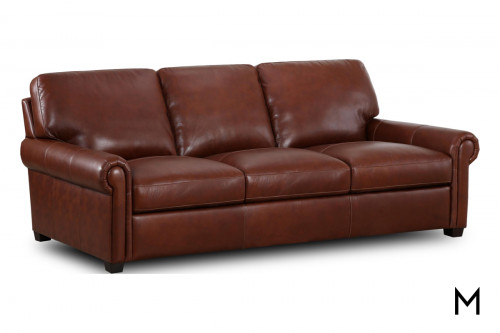 M Collection Rolled Arm Leather Sofa