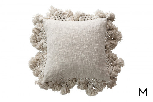 Square Throw Pillow with Crocheted Edging